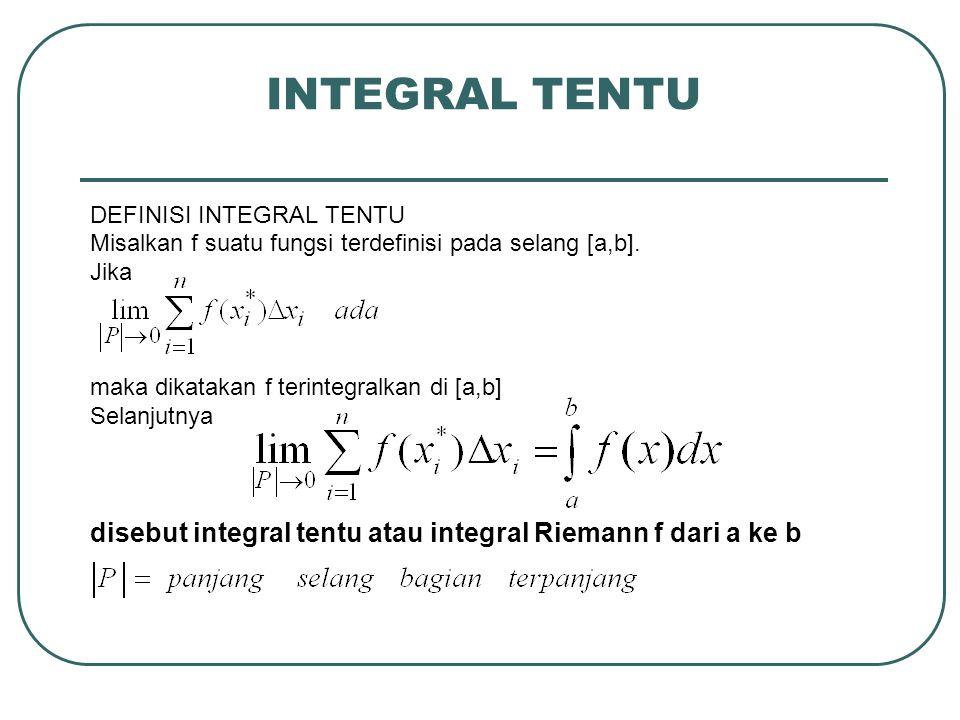 INTEGRAL TENTU DEFINISI INTEGRAL TENTU. Misalkan f suatu fungsi terdefinisi pada selang [a,b]. Jika.